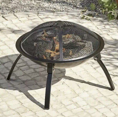 Outdoor Fire Pit Log Burner Garden Patio Heater Steel Bowl 56CM Folding Legs NEW
