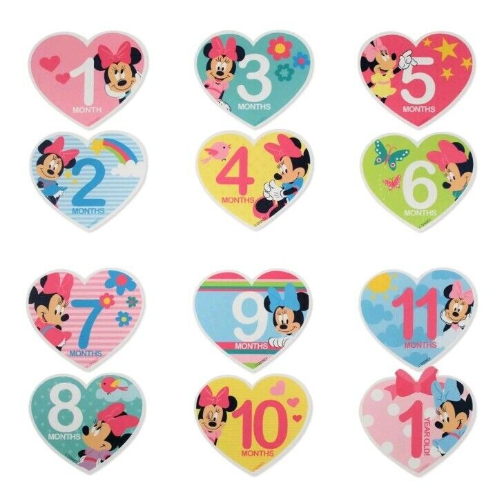 Disney Baby Milestone Photo Prop Minnie Mouse Month Belly Stickers Age 0-12M