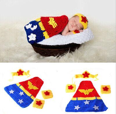 Neugeborene Baby Knit Strick Fotoshooting Kostüm Wonder Woman Stirnband Mantel