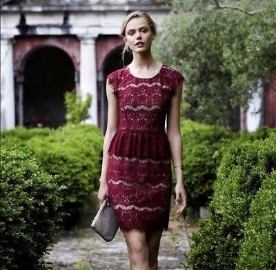 Maeve Anthropologie Womens Burgundy Lace Peplum Elsa Dress Size Medium Maroon - Elsa Dress Womens