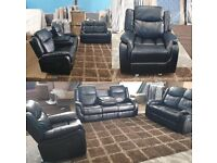 🏆🏆 High Quality Black Leather Roma Recliner with cupholder 🏆🏆