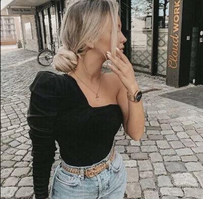 Zara NWT Asymmetric One Sleeve Top Blouse Ruffle Puff Sleeve Black Medium