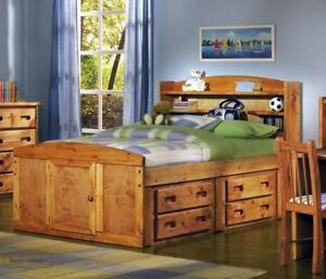 Rustic Classics Pine Twin Captains Bed in Amber Wash with Under Bed Storage Drawers in Stock in Canada