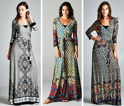 Gypsy Maxi - Bohemian Hippie Gypsy Boho Maxi Dress Wrap Moroccan Mosaic S-3XL - NEW