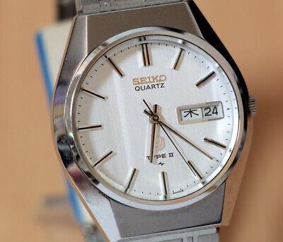 Vintage Seiko Type II Quartz 1977 Men's Luxury Faceted Glass Snow White NOS for sale  Shipping to Nigeria