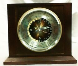 Vintage Battery Operated Bulova World Map Quartz Mantle/Table Top Clock
