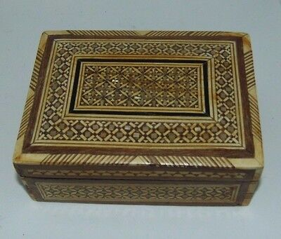 Nicely Detailed Wooden Hand Carved Trinket / Jewlery Box W/ Hinged Lid & Inlay - Hinged Wooden Box