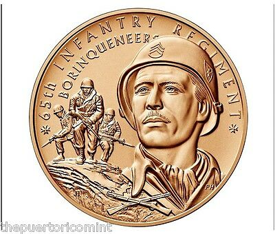 Official 65 INFANTRY REGIMENT BORINQUENEERS 37.5mm 1oz BRONZE MEDAL Puerto Rico