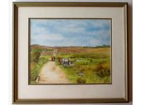 "New Forest watercolour ""Ponies Watering"", Burley Moor, signed H.M.Norman 7/94"