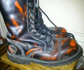 Steel toe Grinders boots size 6 black red doc marten style