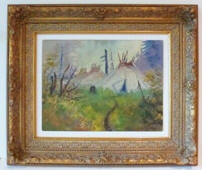 1911 Painting - OREGON RARE 1911 PAINTING - PAIUTE TRIBE TEEPEES BY GEORGE  E BINGHAM - COA