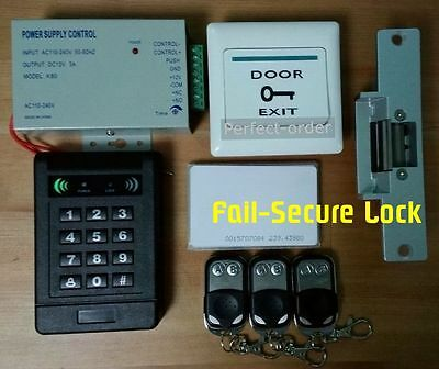 1V3 Remote Control RFID Card Door Access Control Kit+Fail-Secure Strike Lock