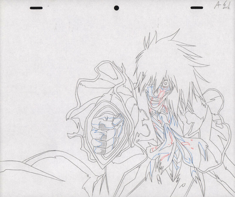 Hellsing Ultimate Anime Douga Drawing Art for Cel Alucard Animation OVA A6