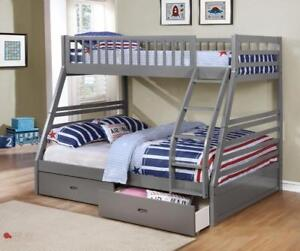 FREE Delivery in Fraser Valley! Fraser Twin over Full Bunk Bed w/ Storage Drawers!  Brand New!