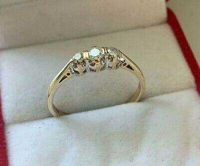 9ct Yellow Gold 0.25ct Diamond Trilogy Ring Size S UK Hallmarked
