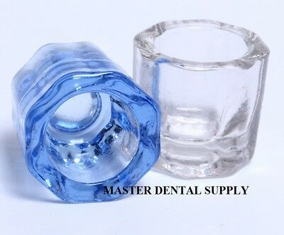 2 Dental Lab Glass Dappen Dish Blue - Clear Acrylic Holder Art Nail Crystal Cup