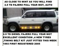 1993 PAJERO / SHOGUN 2.5 TD LWB FULL YEAR MOT EXCELLENT CONDITION SEVEN SEATS