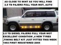 PAJERO / SHOGUN 2.5 TD LWB FULL YEAR MOT EXCELLENT CONDITION SEVEN SEATS
