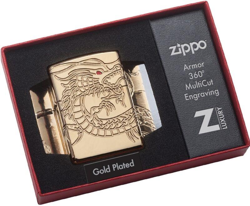 Zippo Choice Catalog Chinese Dragon Armor High Polish Gold Plate MultiCut 29265