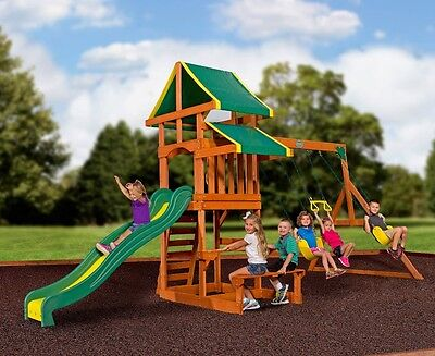 Backyard Discovery Swing Set Tucson Cedar Wooden Outdoor Playground Playset Kids