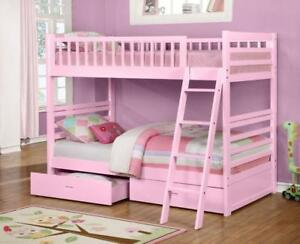 True Contemporary Fraser Pink Twin over Twin Bunk Bed with Storage Drawers and Solid Wood in Canada