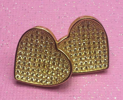 (Large Gold Canary Yellow Heart Shape Stud Earrings)