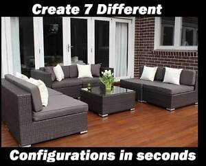 WICKER LOUNGE SETTING,7 CONFIGURATIONS,B/NEW,EUROPEAN STYLING Port Melbourne Port Phillip Preview