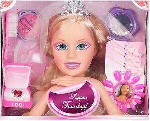 Frisierkopf mit Zubehör Puppe Schminkkopf Schminkpuppe Frisierpuppe Spielzeug