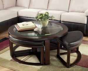 Used Marion Coffee Table with Nesting Stools