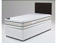 """BRAND NEW SINGLE DIVAN BED WITH 9"""" THICK DEEP QUILTED MATTRESS -- SAME DAY QUICK DELIVERY"""