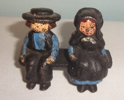 Vintage Cast Iron Amish Figurines Man and Woman on Bench 3 pcs. ](Amish Man)