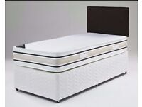 **SAME DAY DELIVERY!**Single Bed/Double/Small Double Divan Bed With Dual Sided Economy Mattress