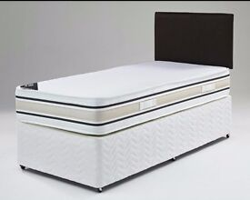 "SINGLE DIVAN BED WITH 11.5 "" ROYAL ORTHOPAEDIC MATTRESS IN BLACK & WHITE COLOUR"