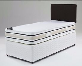 🔥🔥Brand New🔥🔥 Single Divan Base Bed w 7 inch Economy / Budget Mattress £59 -Headboard & Drawers-
