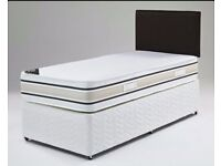 -- UP TO 65% OFF -- BRAND NEW SINGLE DIVAN BASE FOR £29 --SINGLE BED WITH 9 INCH DEEP QUILT MATTRESS