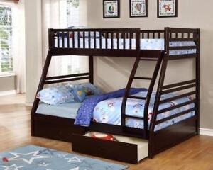 True Contemporary Fraser Espresso Twin over Full Bunk Bed with Storage Drawers and Solid Wood in Canada