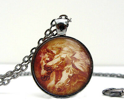 Pharaoh's Horses Vintage-look Glass Domed Necklace Made in USA