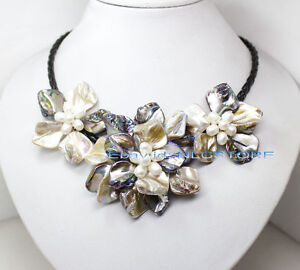 white pearl mother of pearl shell weave flower pendant necklace fashion jewelry