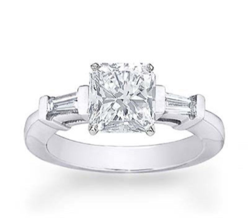 Three Stone Radiant Diamond & Baguette Diamonds Engagement Ring GIA - Ideal Cut