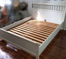 White Ikea Double bed frame (delivery available
