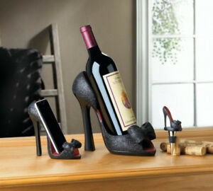 Black High Heel Shoe Wine Bottle Stopper Phone Holder 4PC Mix