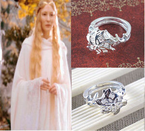 Lord of the Rings Galadriel Nenya White Gold & CZ Ring size 7