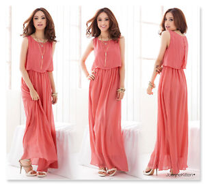 New Womens Boho Maxi Dress Chiffon Sleeveless Long Summer Party Sundress