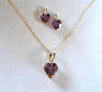 SET- 3 Ct. Amethyst 'Hearts'  10k Gold Necklace & Earrings
