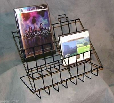 Counter Cddvd Literature Display Rack - 3 Tier 6 Pocket Black