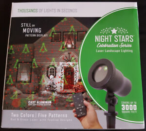 Brand New Sealed Box 5 Pattern, 2 Colour Holiday Laser Light