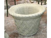 Large Garden Planter in Reconstituted Limestone - Basket Weave Design