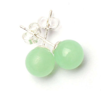 Silver Natural Green Jade Earring - Pretty New Silver Light Green Natural Jade 10mm Round Ball Bead Stud Earrings