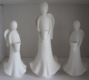 Anges en ceramique / Angels ceramic, set of 3