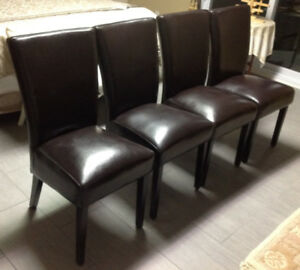 Wood + Faux Leather Upholstery Dining Chairs (4 pc)